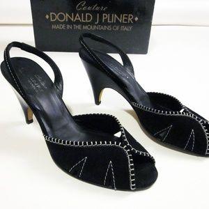 Donald Pliner sz 7 M black suede sling back heels